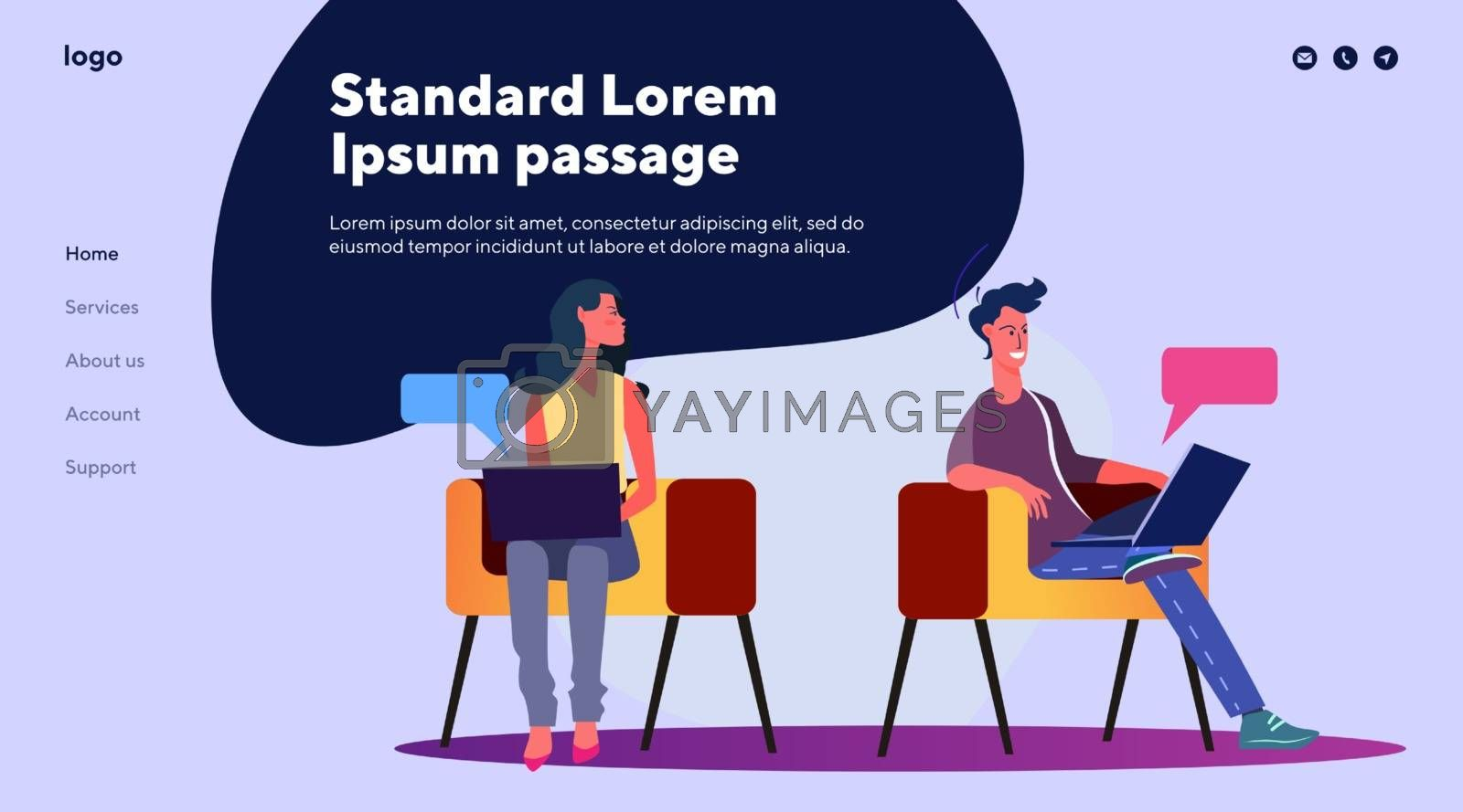 Man and woman chatting online at cyber cafe. Internet, web, laptop, talking flat vector illustration. Communication and technology concept for banner, website design or landing web page