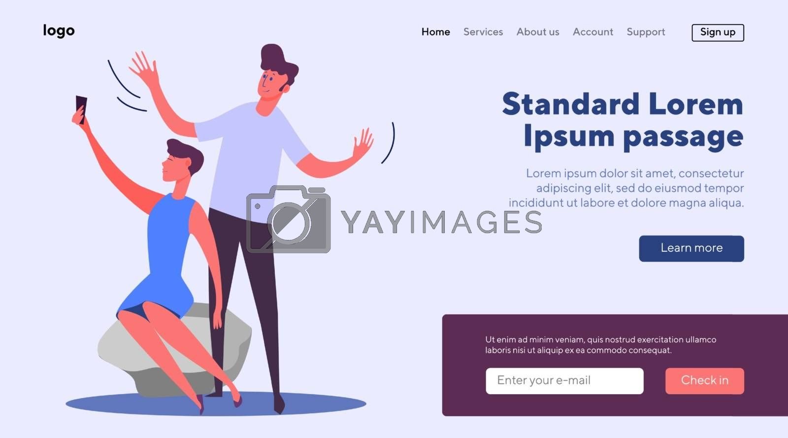 Man and woman making selfie. Young couple taking photos outdoors flat vector illustration. Photography, memories, portrait concept for banner, website design or landing web page