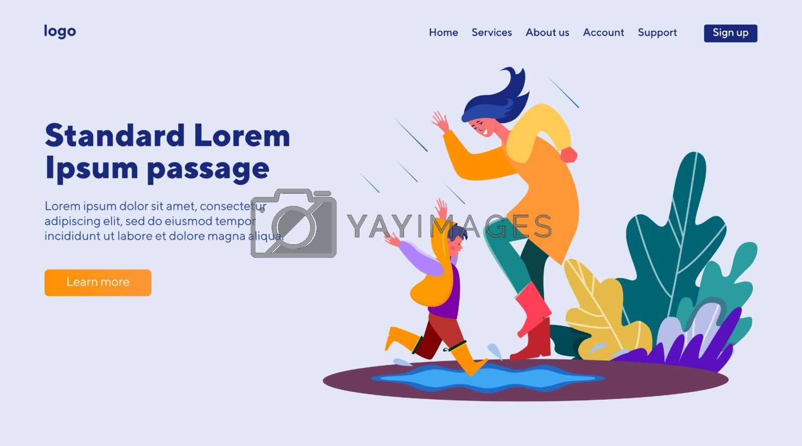 Mother and child having fun under rain. Togetherness, kids, love, leisure flat vector illustration. Family and parenting concept for banner, website design or landing web page