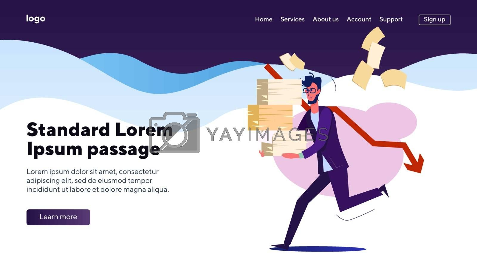 Office man running with piles of papers. Employee hurrying with documents flat vector illustration. Overworking, deadline, stressed business man concept for banner, website design or landing web page