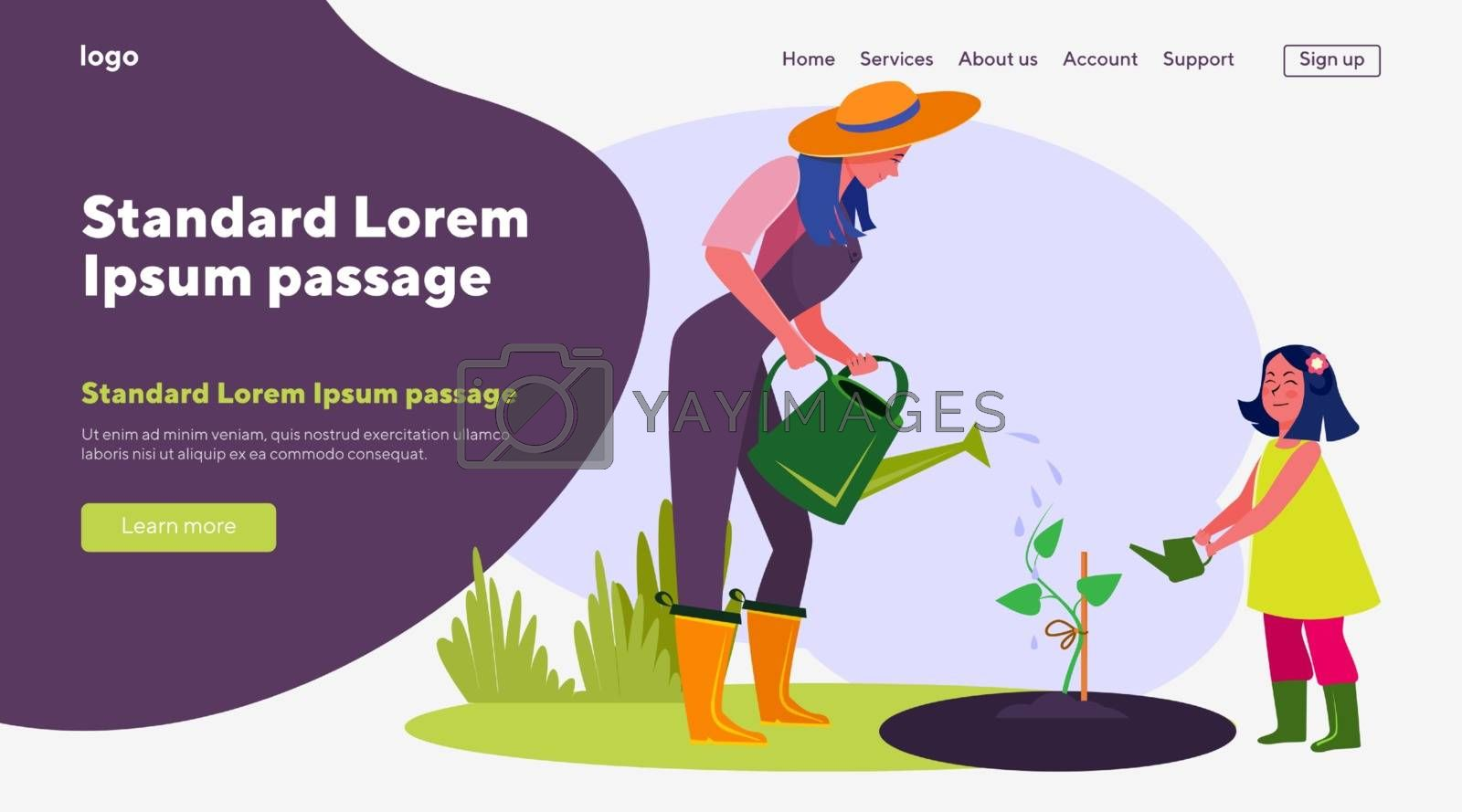 Mother and daughter watering plant. Young woman and small girl working in garden flat vector illustration. Gardening, agriculture concept for banner, website design or landing web page