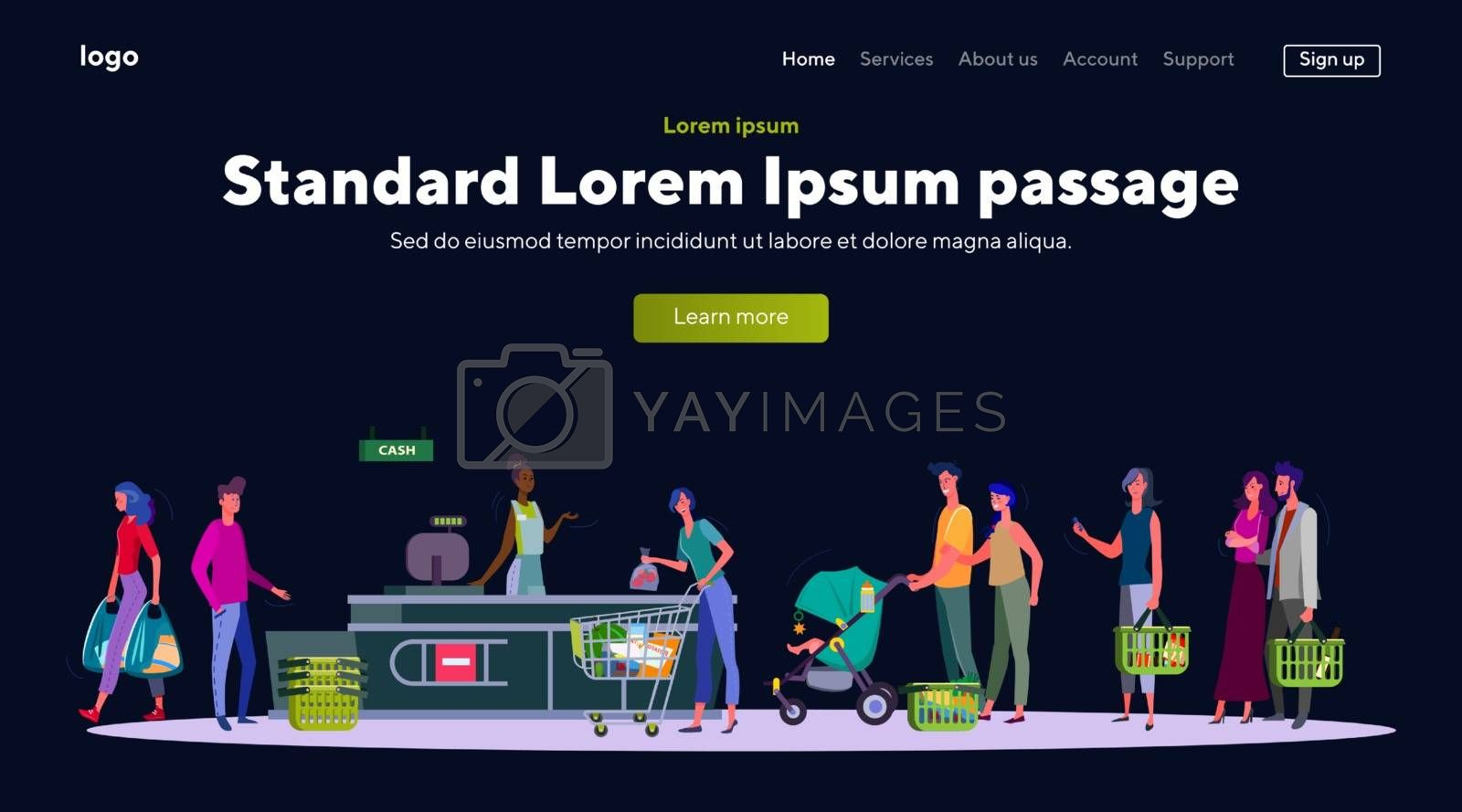 People with groceries in line to cashier. Supermarket, food, basket flat vector illustration. Shopping and consumerism concept for banner, website design or landing web page