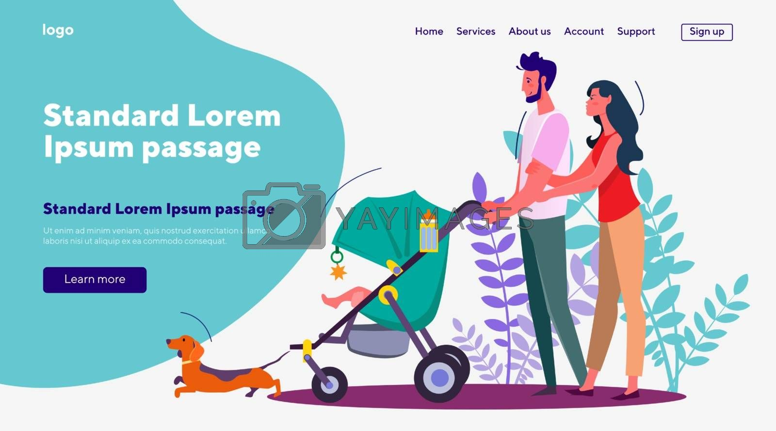 Wife and husband walking with baby in pram and dog. Couple strolling with kid and pet flat vector illustration. Family and parenting, pet animal concept for banner, website design or landing web page