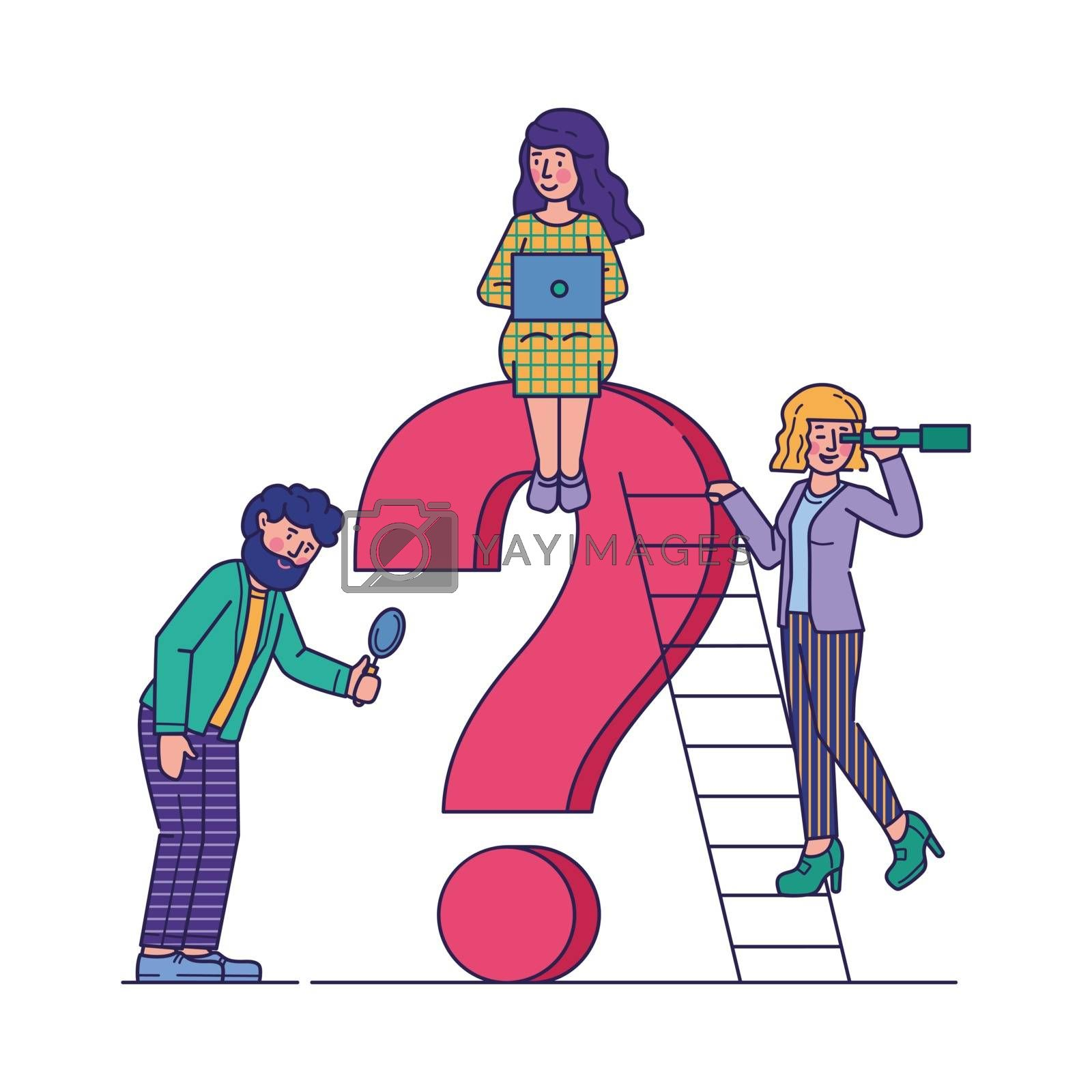 Business people asking questions flat vector illustration. Team assisting and looking for solution and answer together. Giant question mark. Communication and help concept.