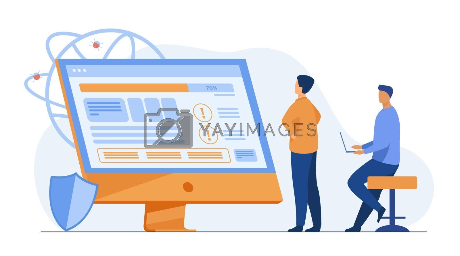 Developers testing software. Man with laptops watching infographics, fixing bugs, using computer. Vector illustration for application, programming, coding concept