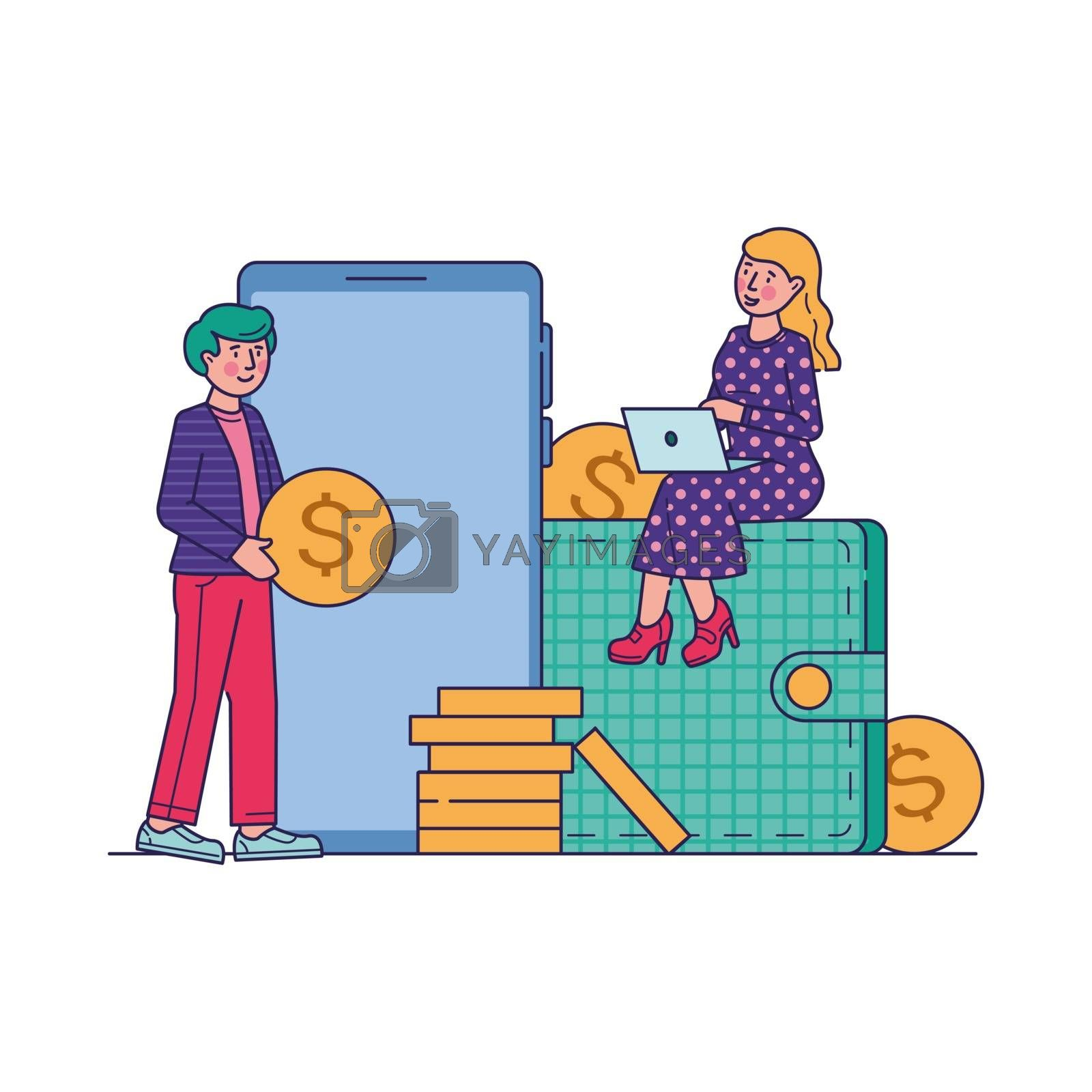 E-commerce market shopping online vector illustration. Mobile payment or money transfer concept. Money transferring via smartphone app and web banking