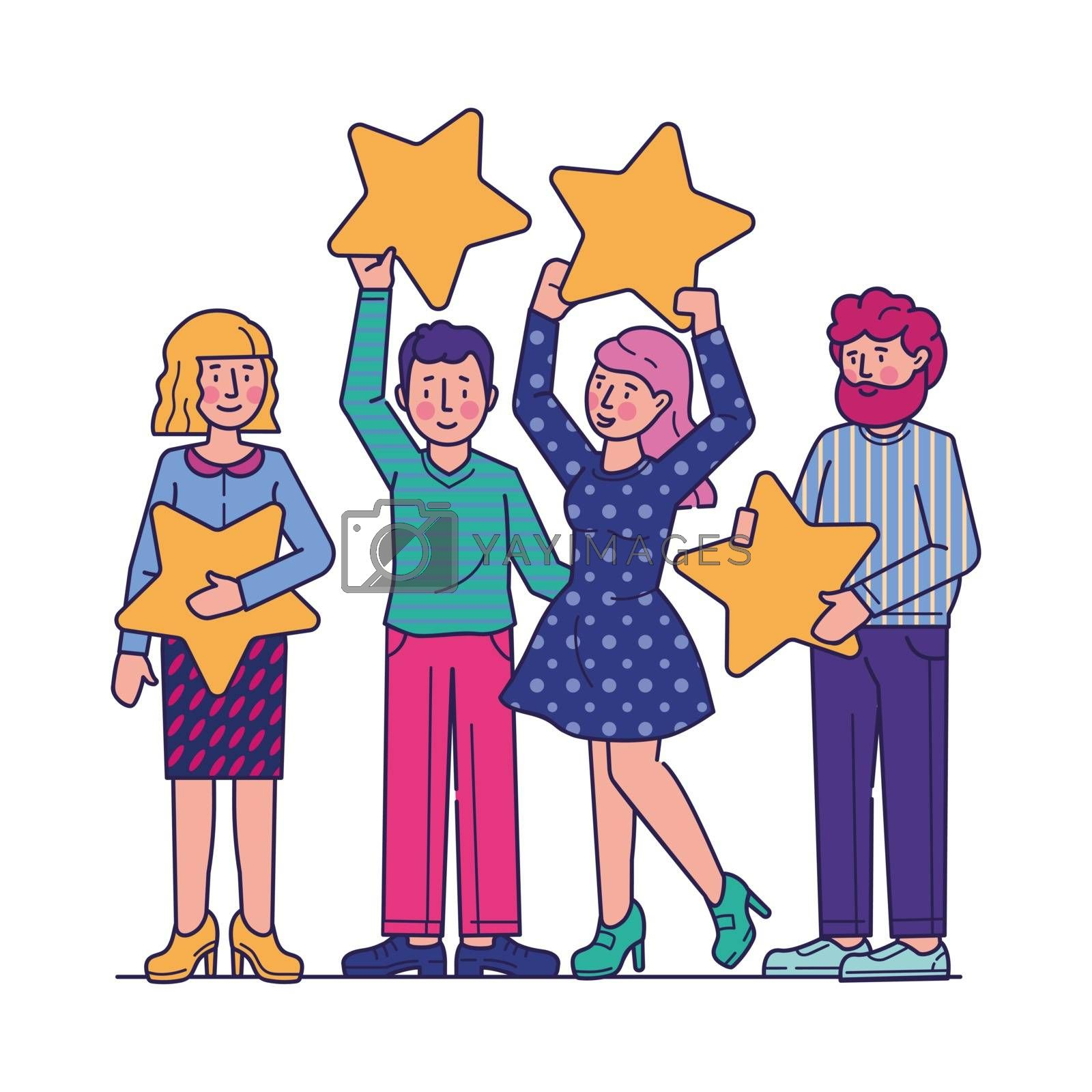 Customer review evaluation flat vector illustration. Quality rating with stars. Consumer feedback and satisfaction concept. People holding stars over heads.