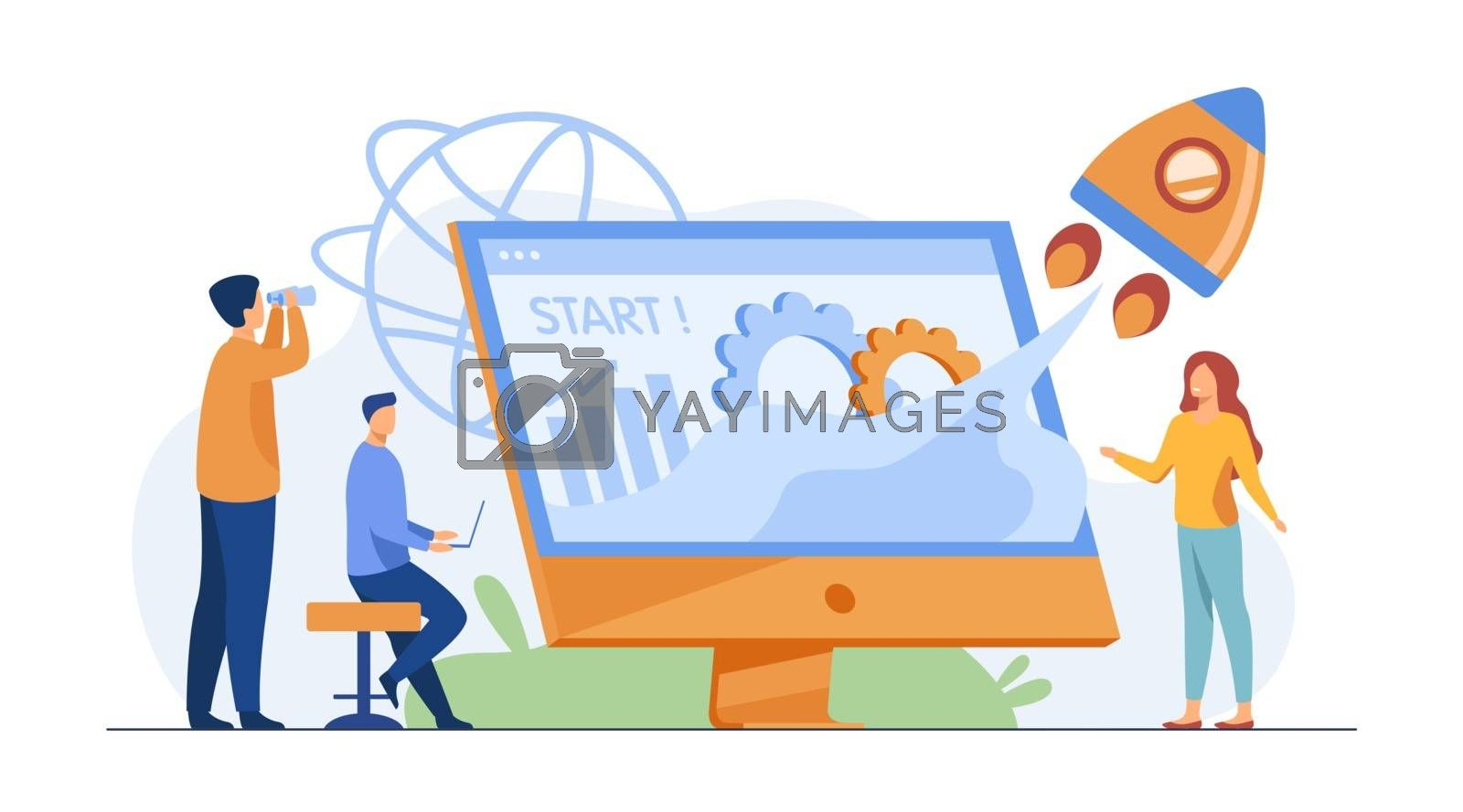 Team starting project. Workgroup working on startup, launching rocket from monitor with growth chart. Vector illustration for new business idea concept