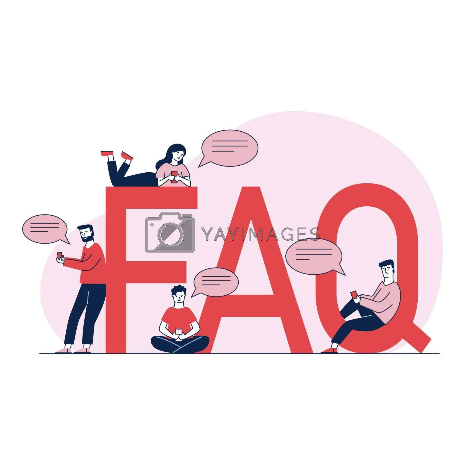 People asking questions and getting instructions. User support for search useful information and problem solution vector illustration. Men and women sitting near giant FAQ. Help and support concept.