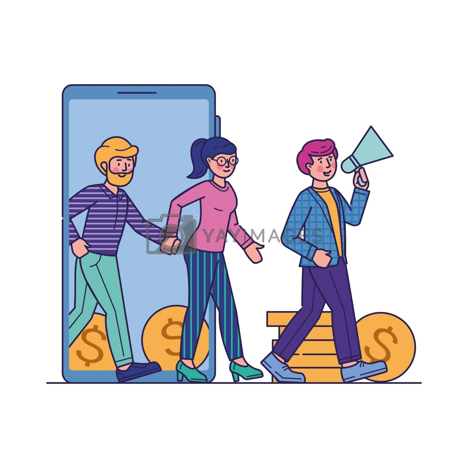 Refer a friend marketing loyalty program. Man and woman with megaphone walking together phone screen with cash. Vector illustration for earning money, announcement, advertising, business concept