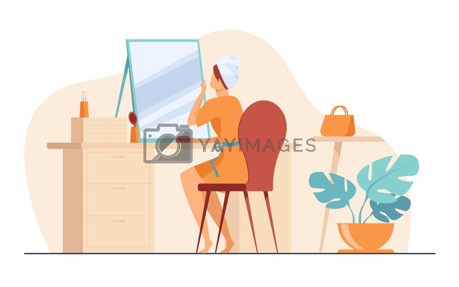 Young woman sitting in front of mirror flat vector illustration. Morning routine procedures for beauty. Skincare, washing and hygiene concept.
