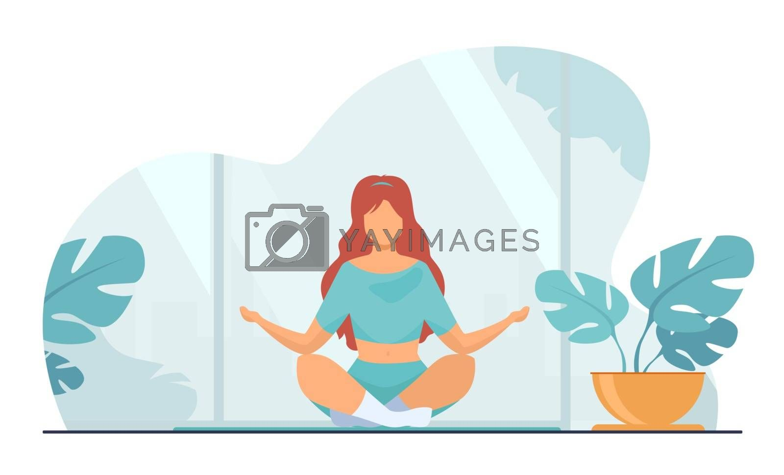 Woman in comfortable posture for meditation flat vector illustration. Female character doing morning yoga at home. Girl sitting in calm lotus pose. Wellness, healthcare and lifestyle concept