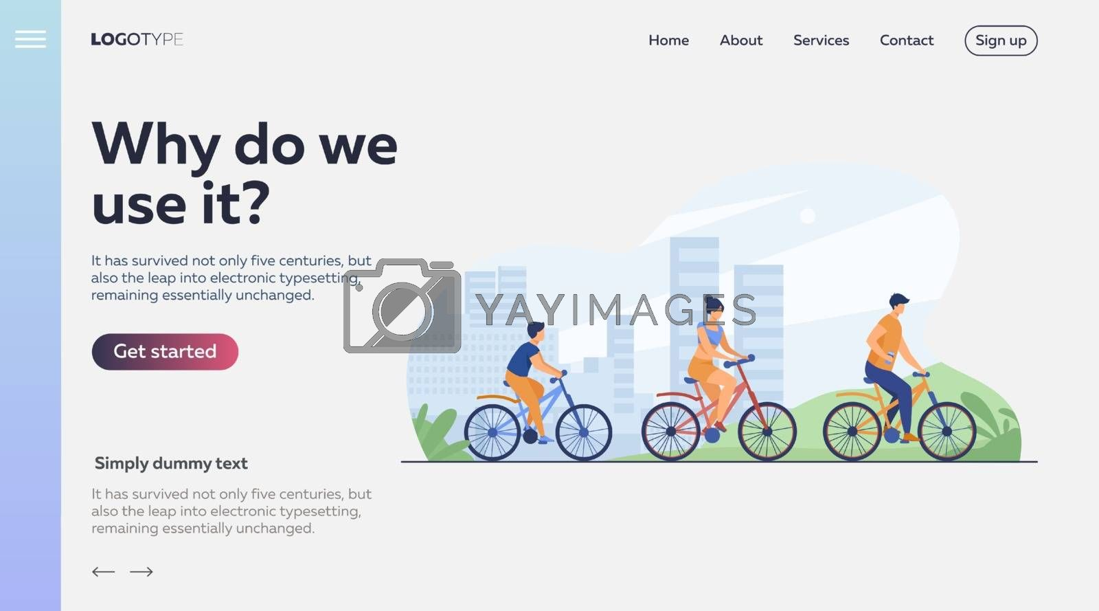 Family riding bikes in city park. Young couple with child cycling outdoors. Vector illustration for urban activity, healthy lifestyle, vacation concept