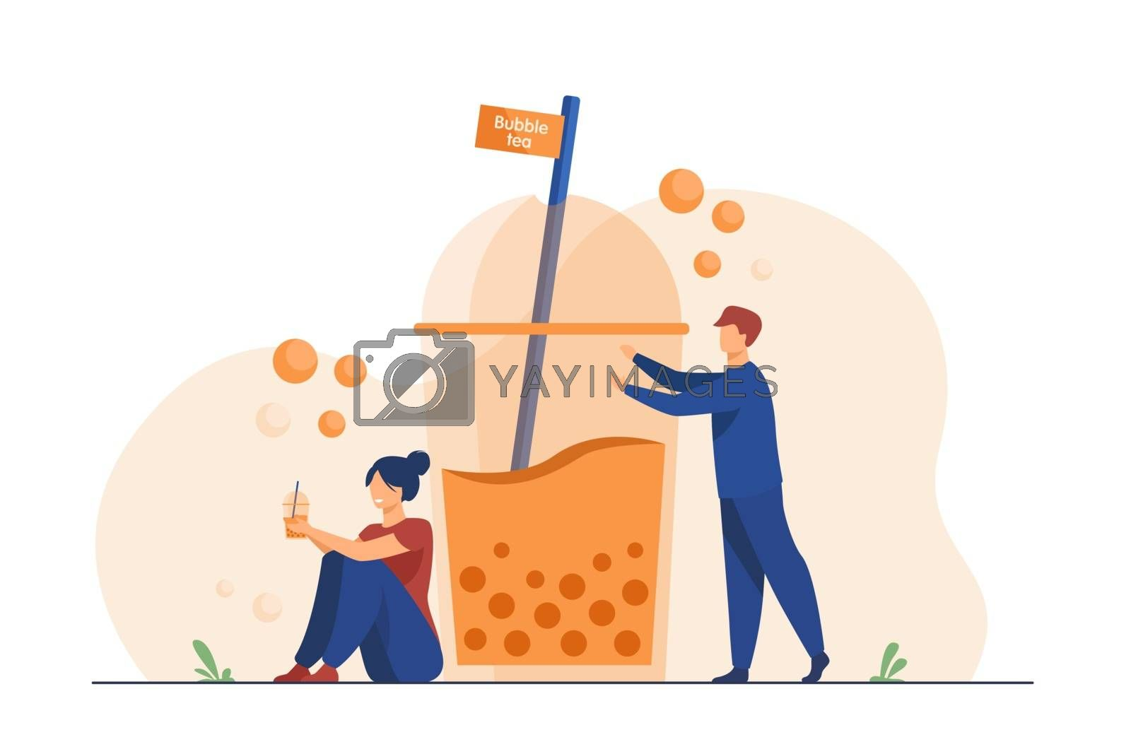 Man and woman drinking takeaway bubble tea. People with disposal transparent glass of cold milk boba beverage. Vector illustration for summer, refreshment, coffee shop concept