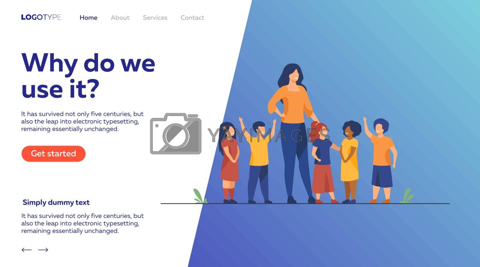 Group of pupils with female school teacher. Diverse children standing by young woman. Vector illustration for pedagogy, kindergarten, education concept