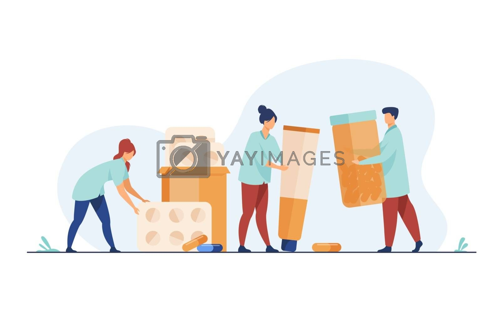 Pharmacists working with blisters of pills, bottle of drugs, tube of ointments. Medical employees working in drug store. Vector illustration for medicine, pharmacy, medicaments, drugstore concept