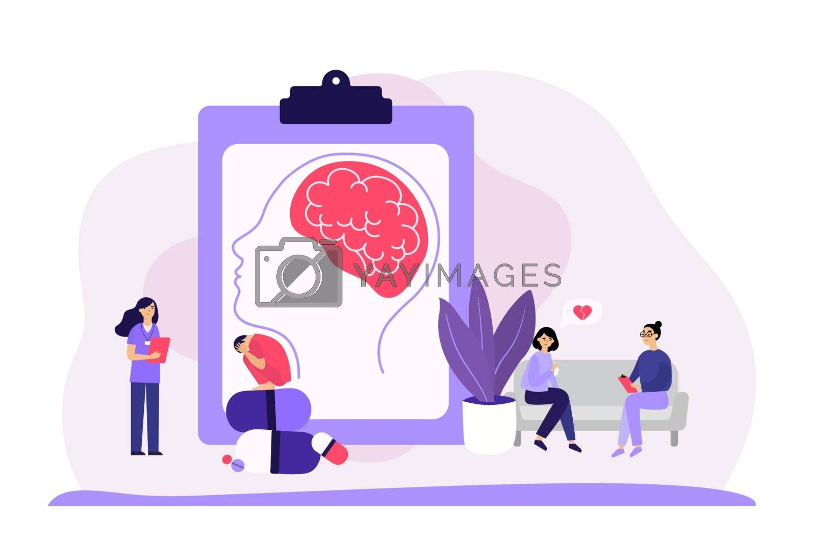 Psychiatrist counseling faceless patients flat vector illustration. Mental disorder, addiction and depression treatment. Family psychologist, psychoanalysis and psychotherapy concept