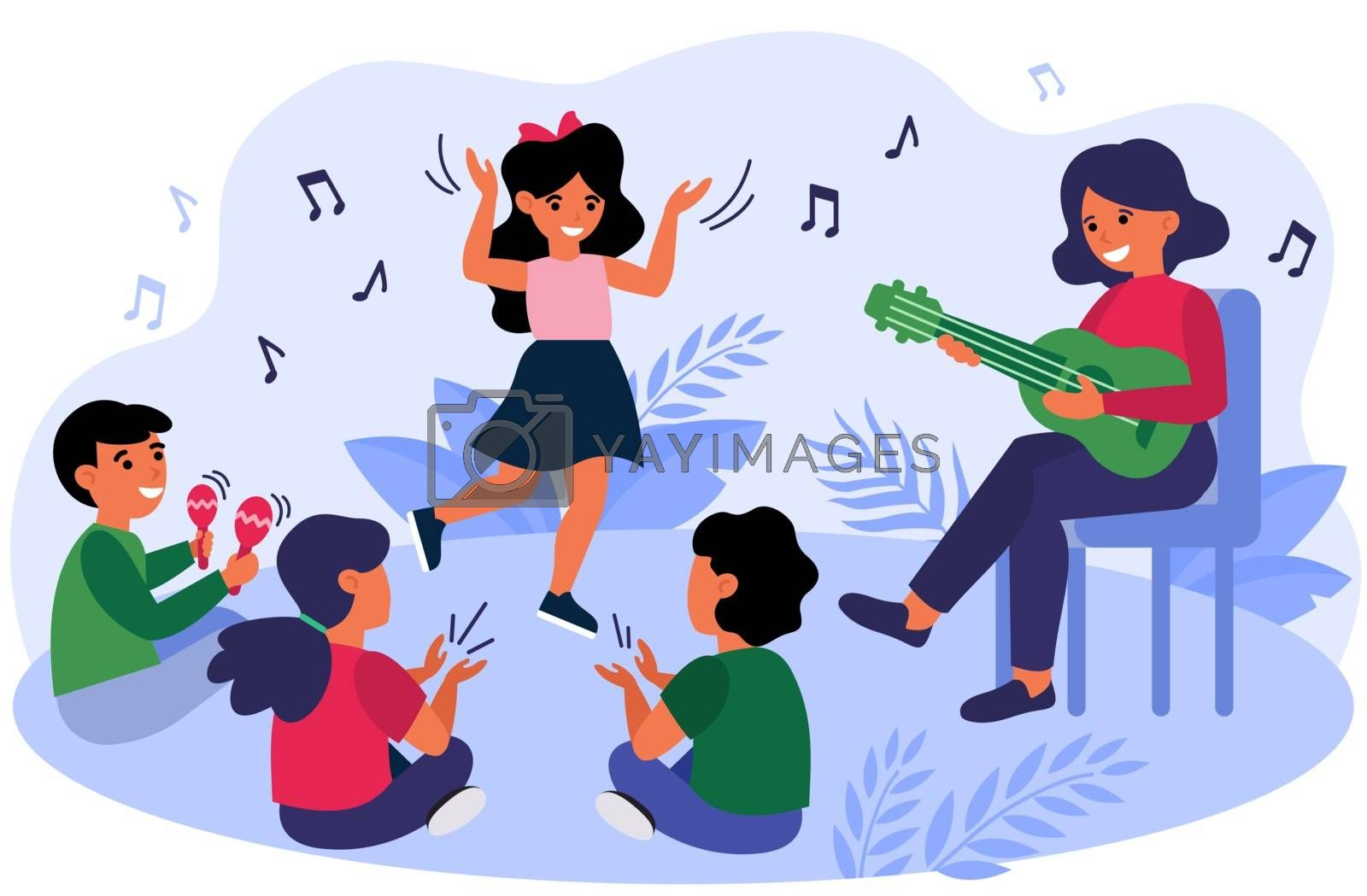 Happy kids having fun during their music class. Teacher and children playing guitar, clapping hands, dancing and singing at daycare preschool. Vector illustration for musical education concept