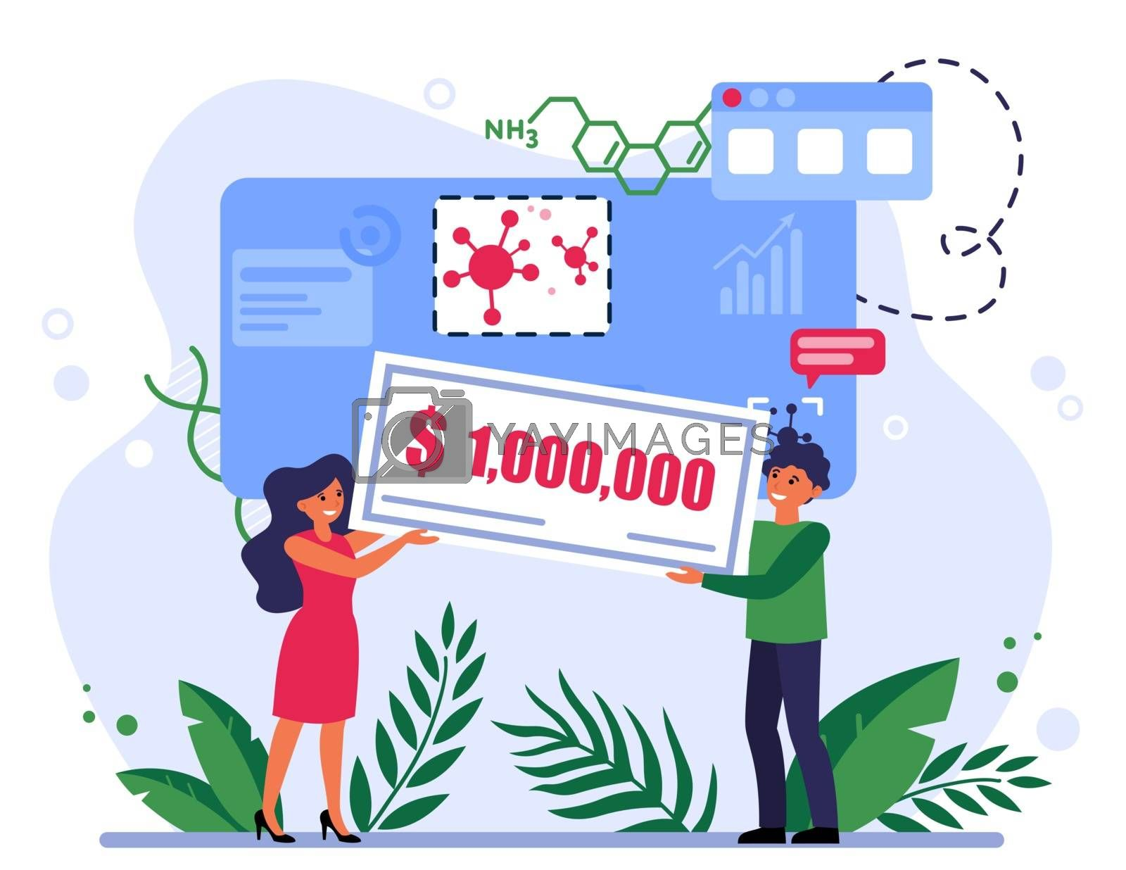 People winning grant for coronavirus research. One million dollars, prize, award flat vector illustration. Wealth, epidemic, financial success concept for banner, website design or landing web page