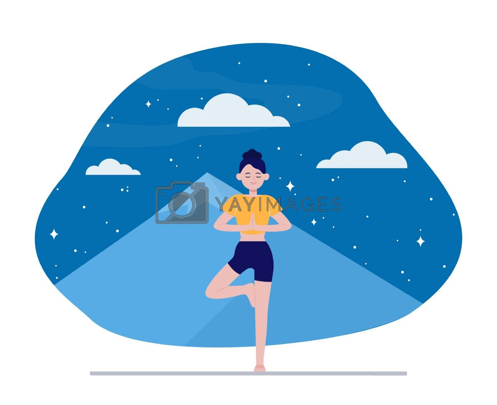 Young woman doing yoga outdoors. Night mountain landscape in background flat vector illustration. Meditation, relaxation, balance concept for banner, website design or landing web page