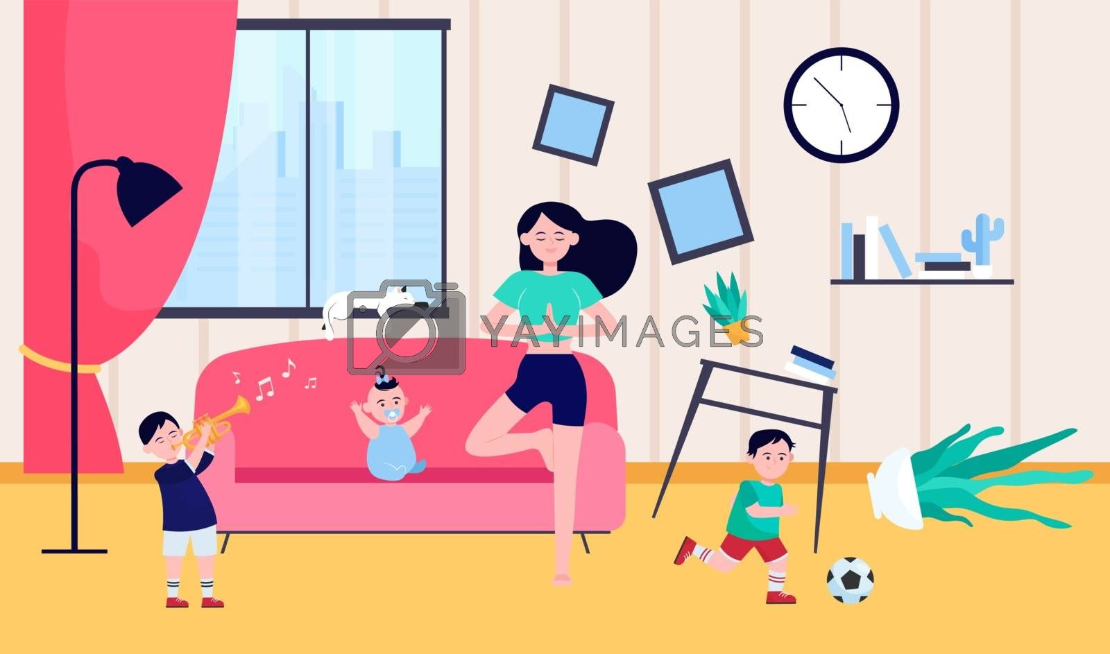 Calm mother doing yoga among naughty kids. Children making chaos while mom meditating at home. Vector illustration for motherhood, childhood, stress relief concept