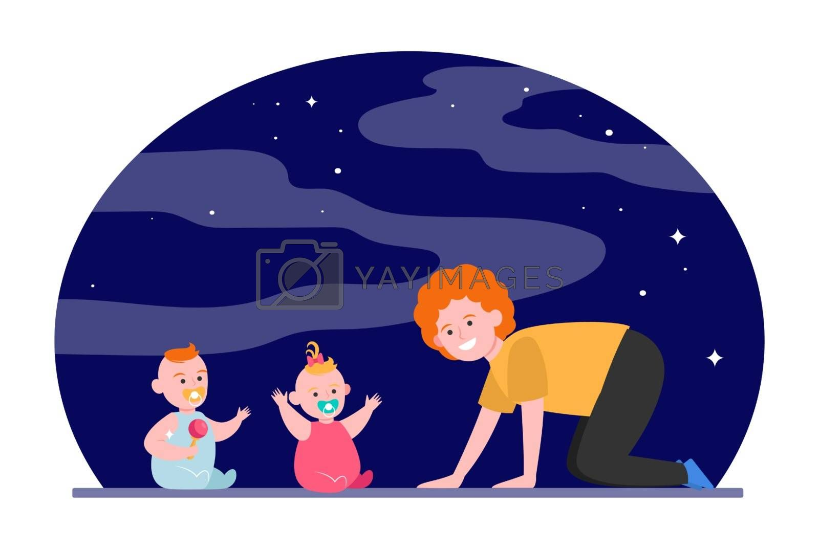 Cheerful mom playing with twin babies. Toys, babysitting, baby care flat vector illustration. Childhood, childcare, parenthood concept for banner, website design or landing web page