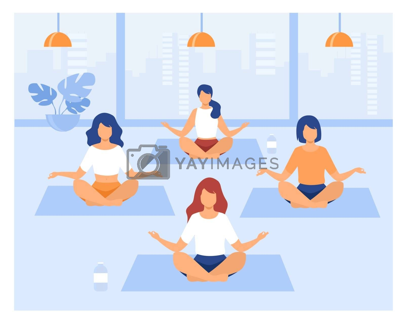 People practicing yoga. Women exercising at yoga class, sitting in lotus pose, meditating with teacher. Vector illustration can be used for physical activity, fitness, gym concept