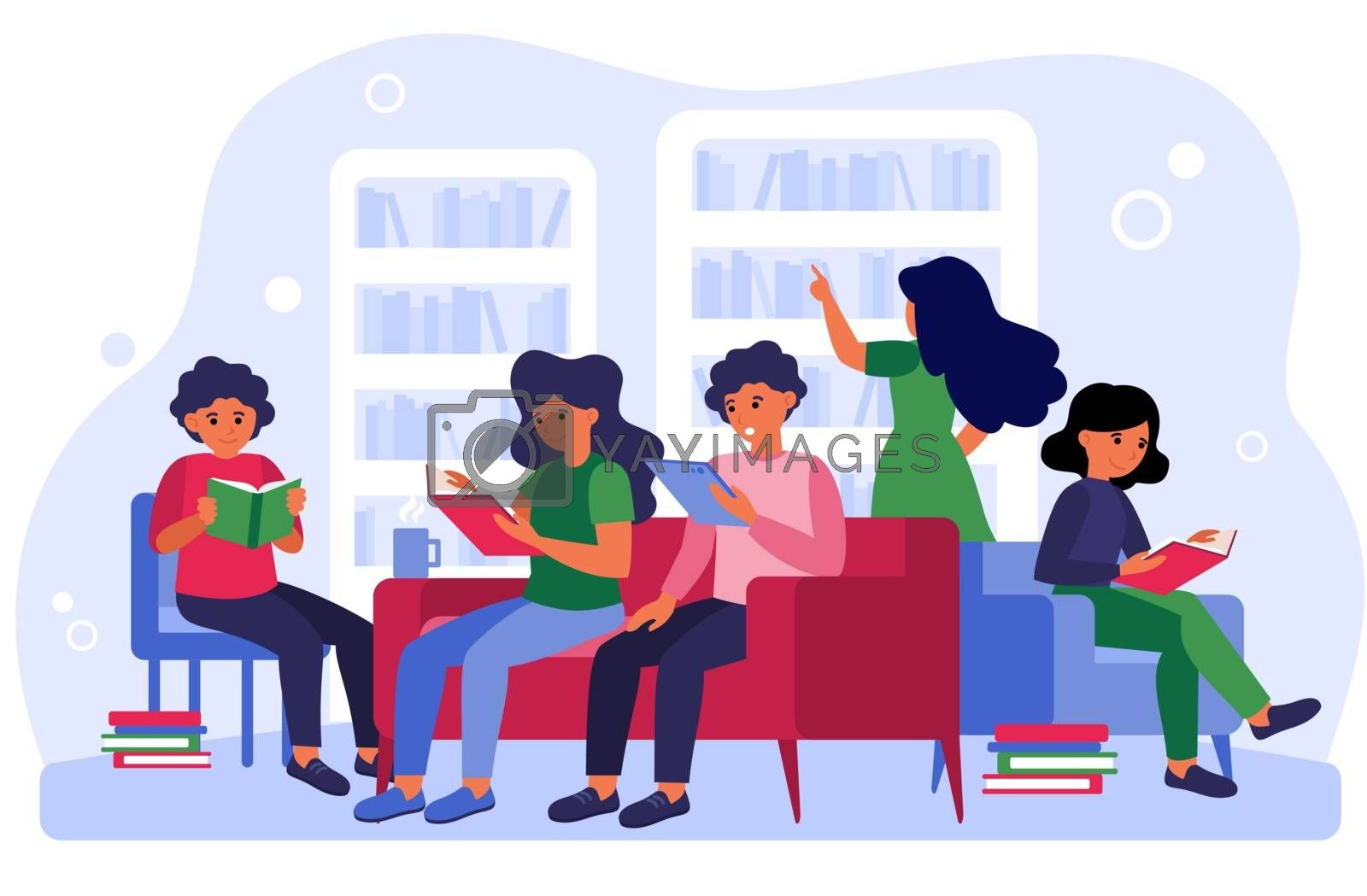 People studying and learning in room flat vector illustration. Men and women sitting on sofa at bookshelves and bookcases and reading books indoor. Library concept for creative design template