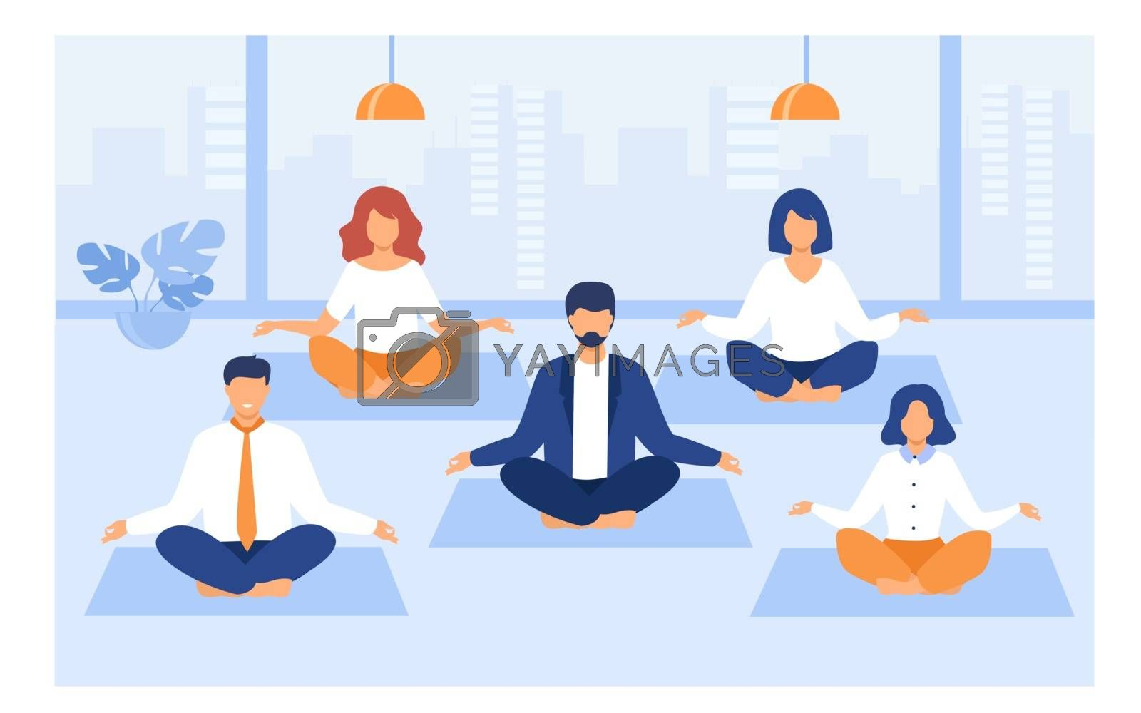 Office people practicing yoga and meditation. Managers exercising and meditating in lotus pose during work break. Can be used for mindfulness, business and relaxing concept