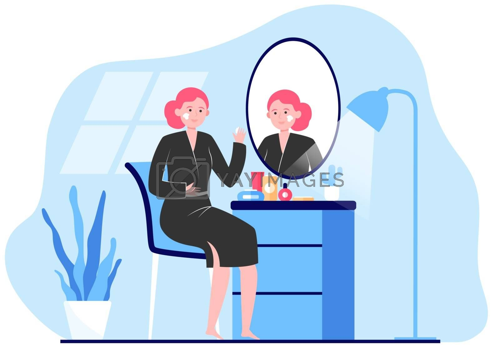 Woman applying cream to face skin at mirror. Lady practicing skincare routine in her bathroom. Vector illustration for morning hygiene, beauty care, face washing concept