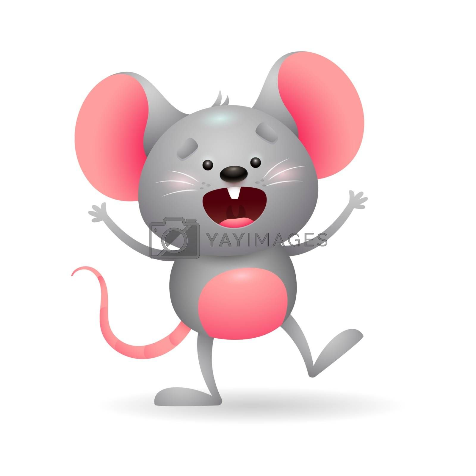 Jolly gray mouse in excitement. Cute character screaming and waving. Can be used for topics like animal, rodent, cartoon