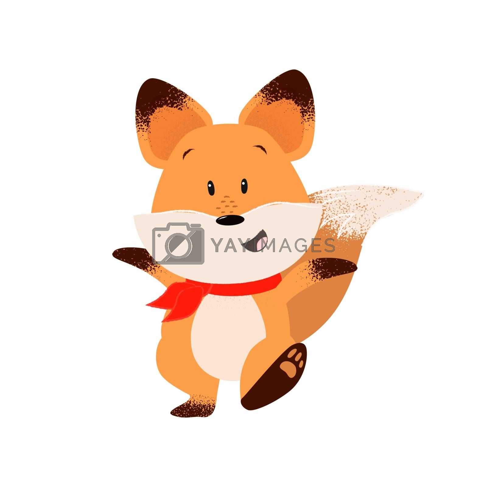 Happy fox outstretching hands while walking. Excitement, leisure, happiness.  Can be used for topics like animal, stroll, cartoon
