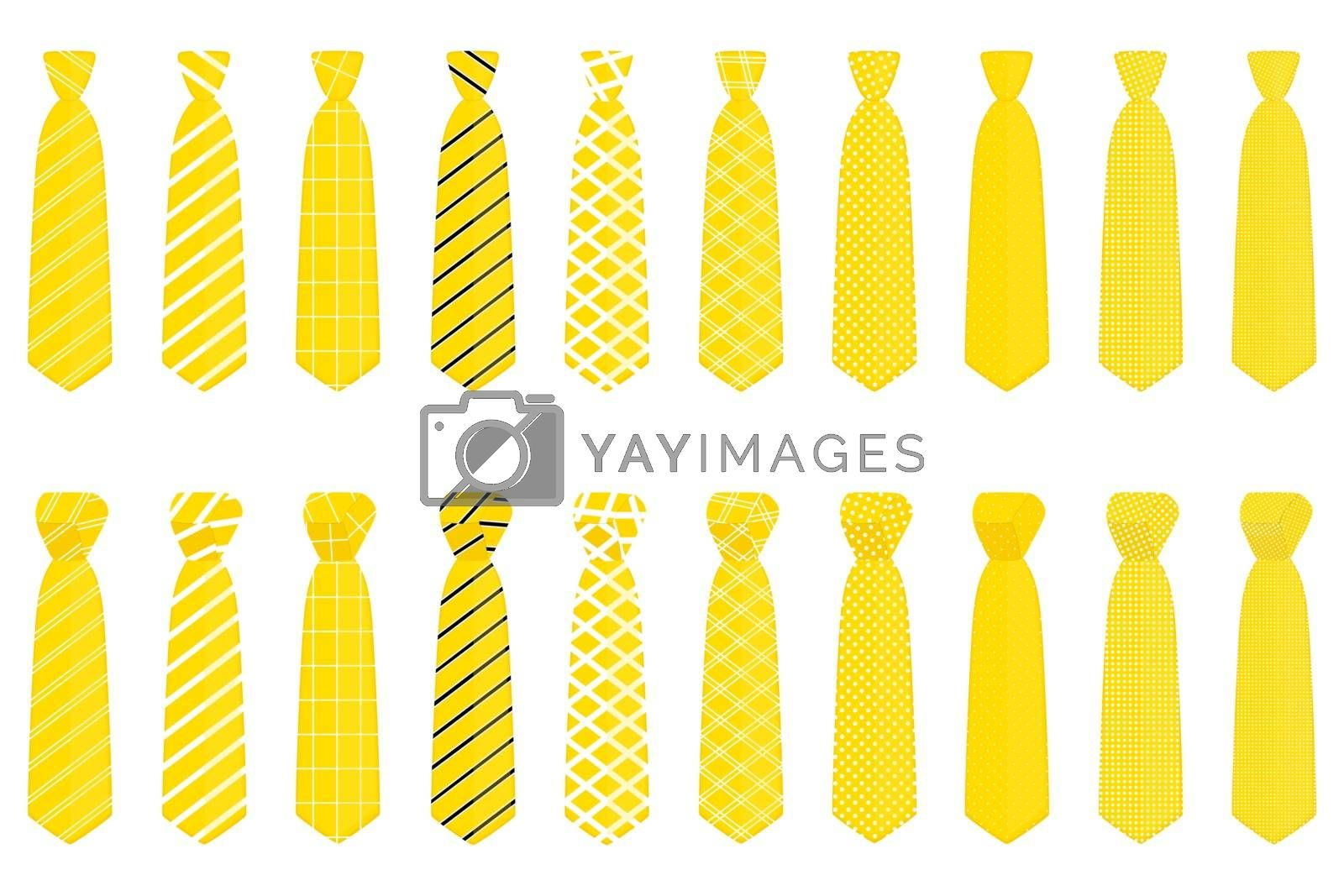 Illustration on theme big set ties different types, neckties various size. Tie pattern consisting of collection textile garments necktie for celebration vacation. Necktie tie is accessory brutal man.