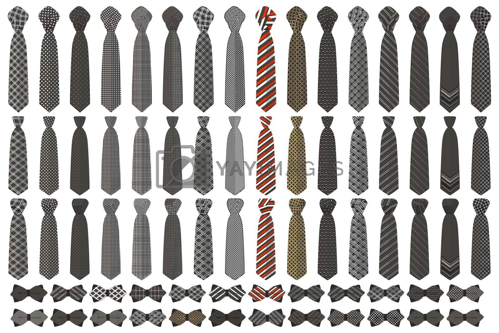 Illustration on theme big colored set neckties different types, bow tie various size. Necktie consisting of collection textile garments bow tie for beauty. Bow tie is accessory brutal man in necktie.