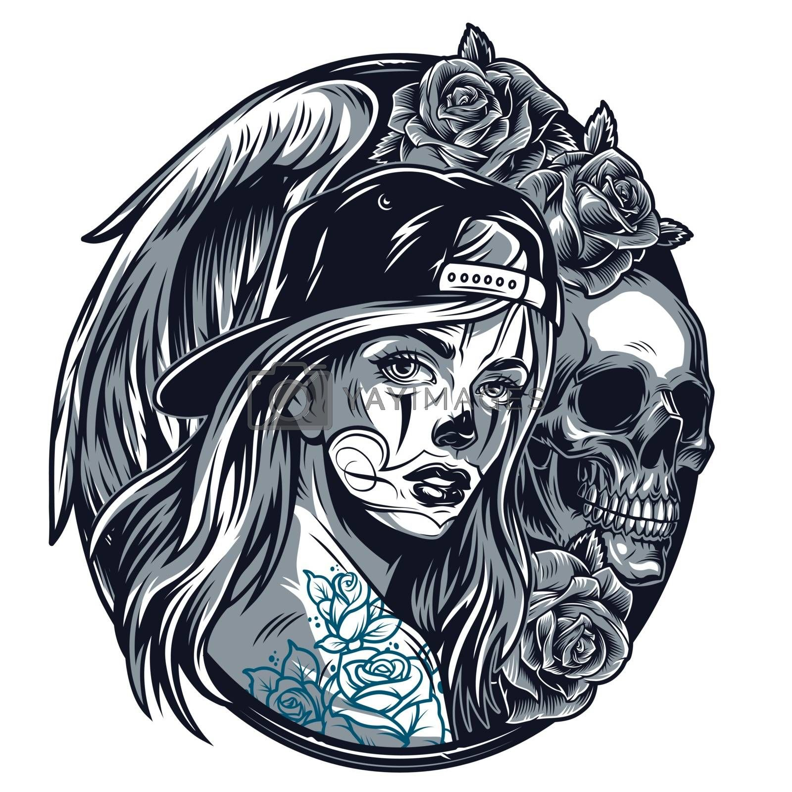 Chicano girl in baseball cap round concept with beautiful roses skull and angel wing in vintage style isolated vector illustration