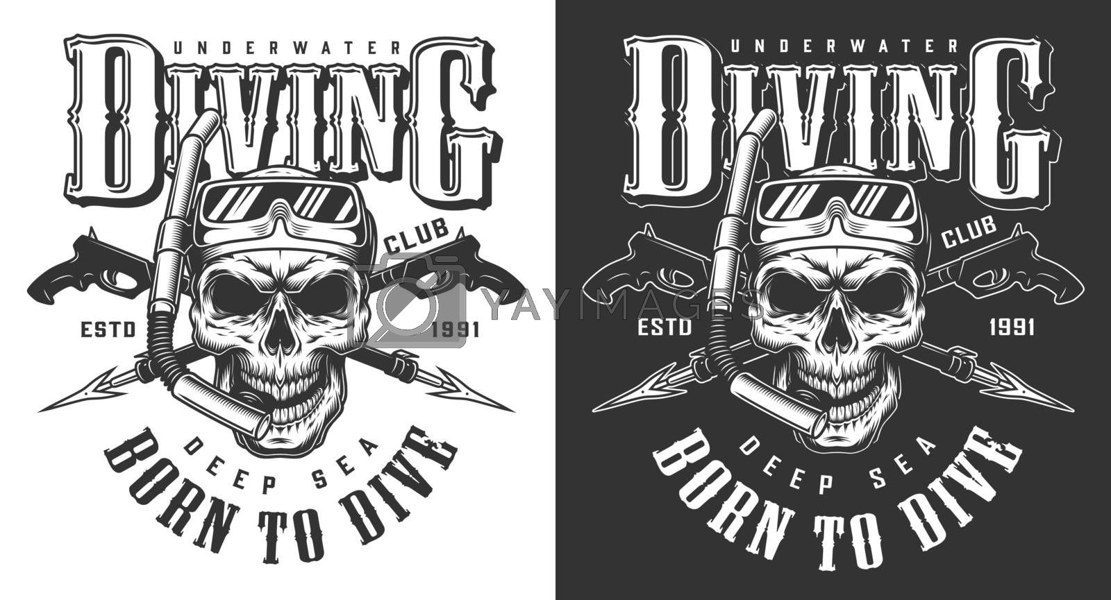 Diving apparel design with skull and underwater gun. Vector illustration
