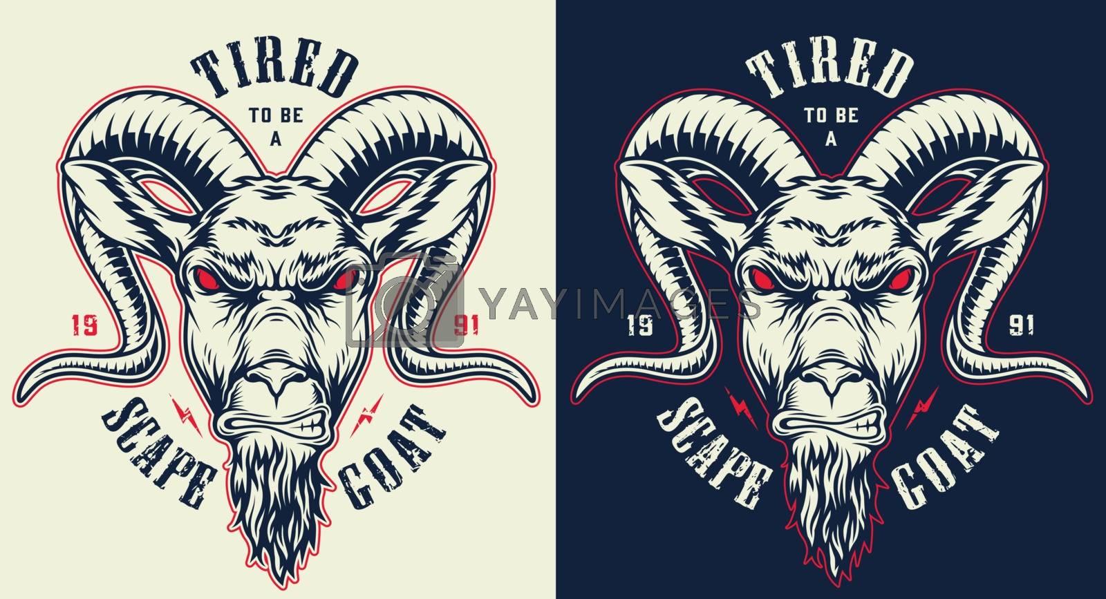 Emblems with goat. Concept prints designs. Vector illustraiton