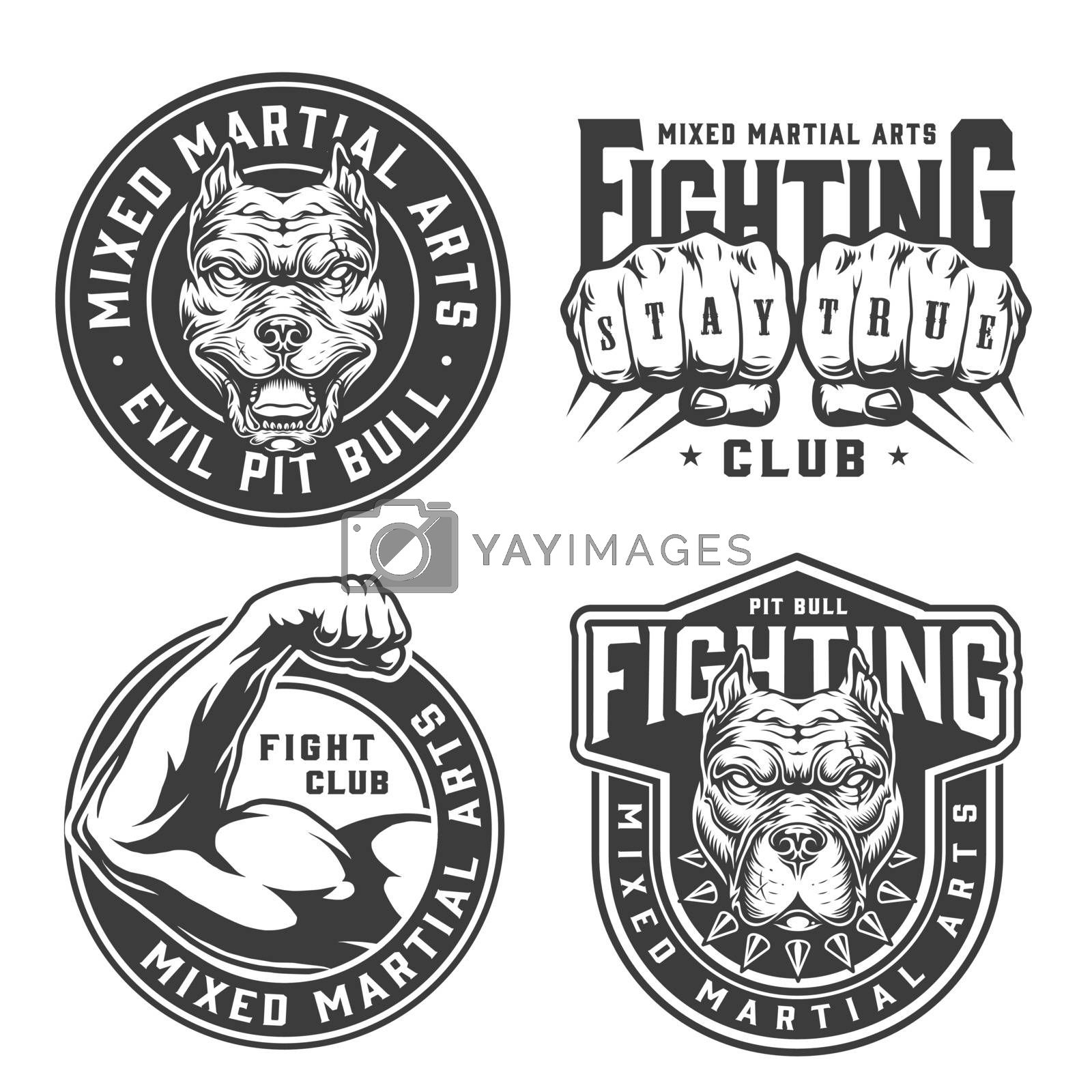 Vintage monochrome fight club badges with pitbull heads male fists and strong fighter arm isolated vector illustration