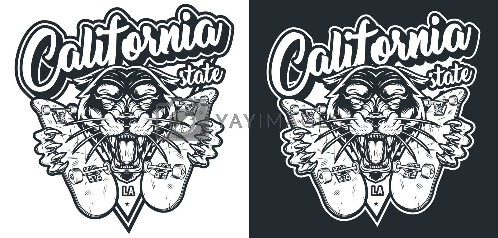 Monochrome vintage skateboarding logo with cruel ferocious black panther holding skateboards isolated vector illustration