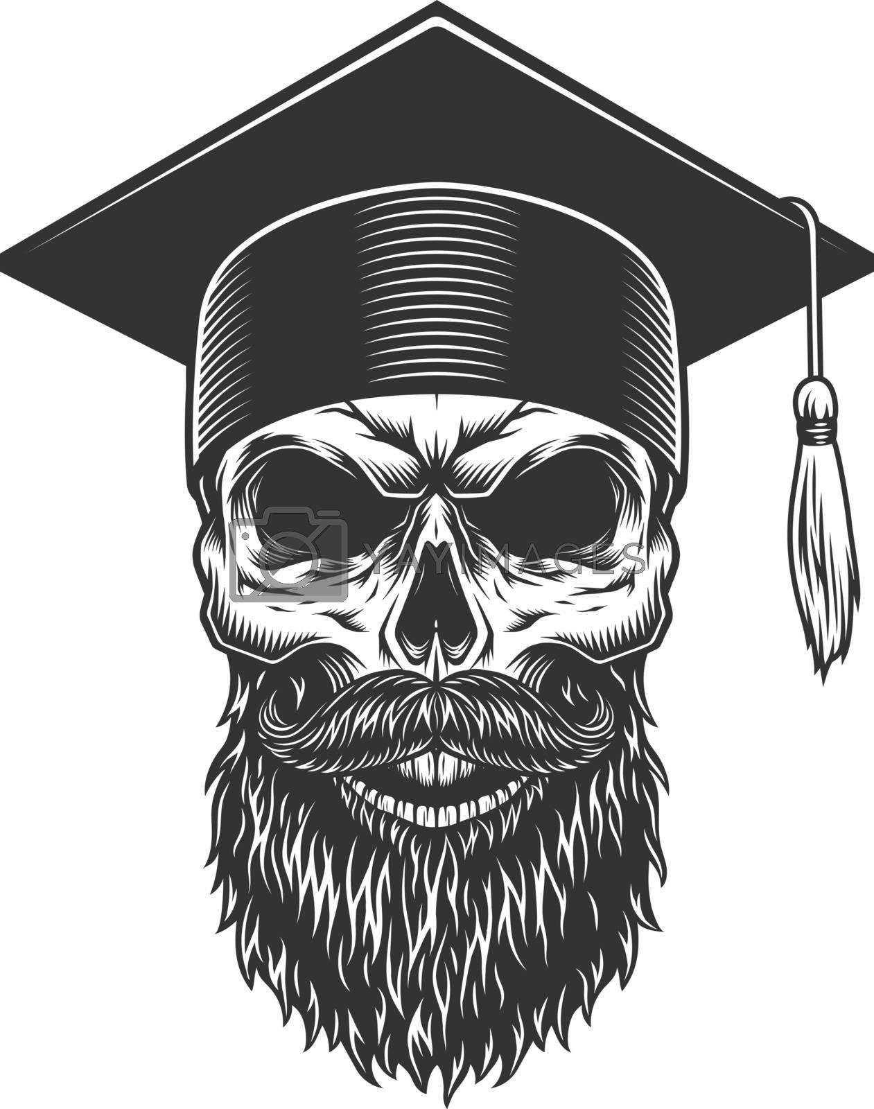 Skull in the graduated hat. Vector illustration
