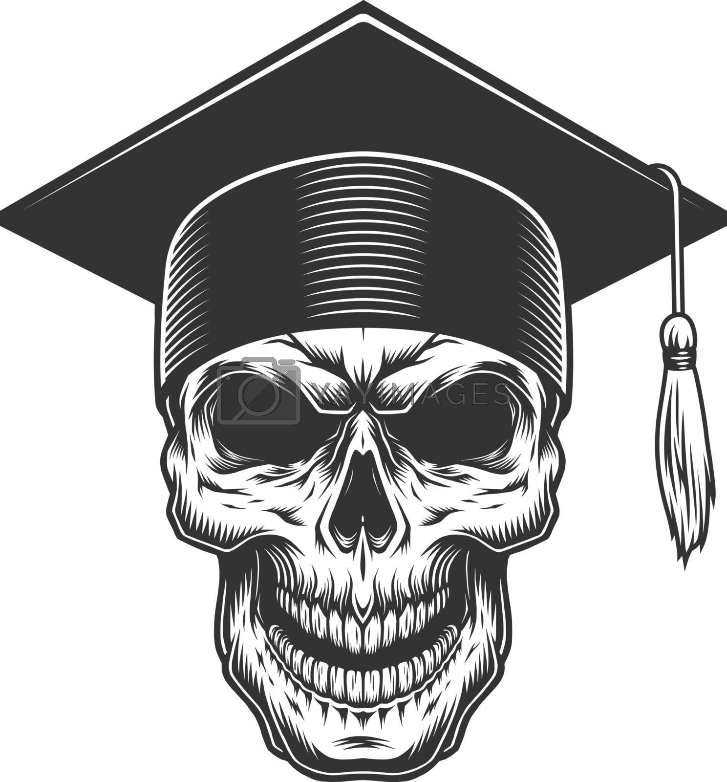 Skull in the graduate hat. Vector vintage illustration