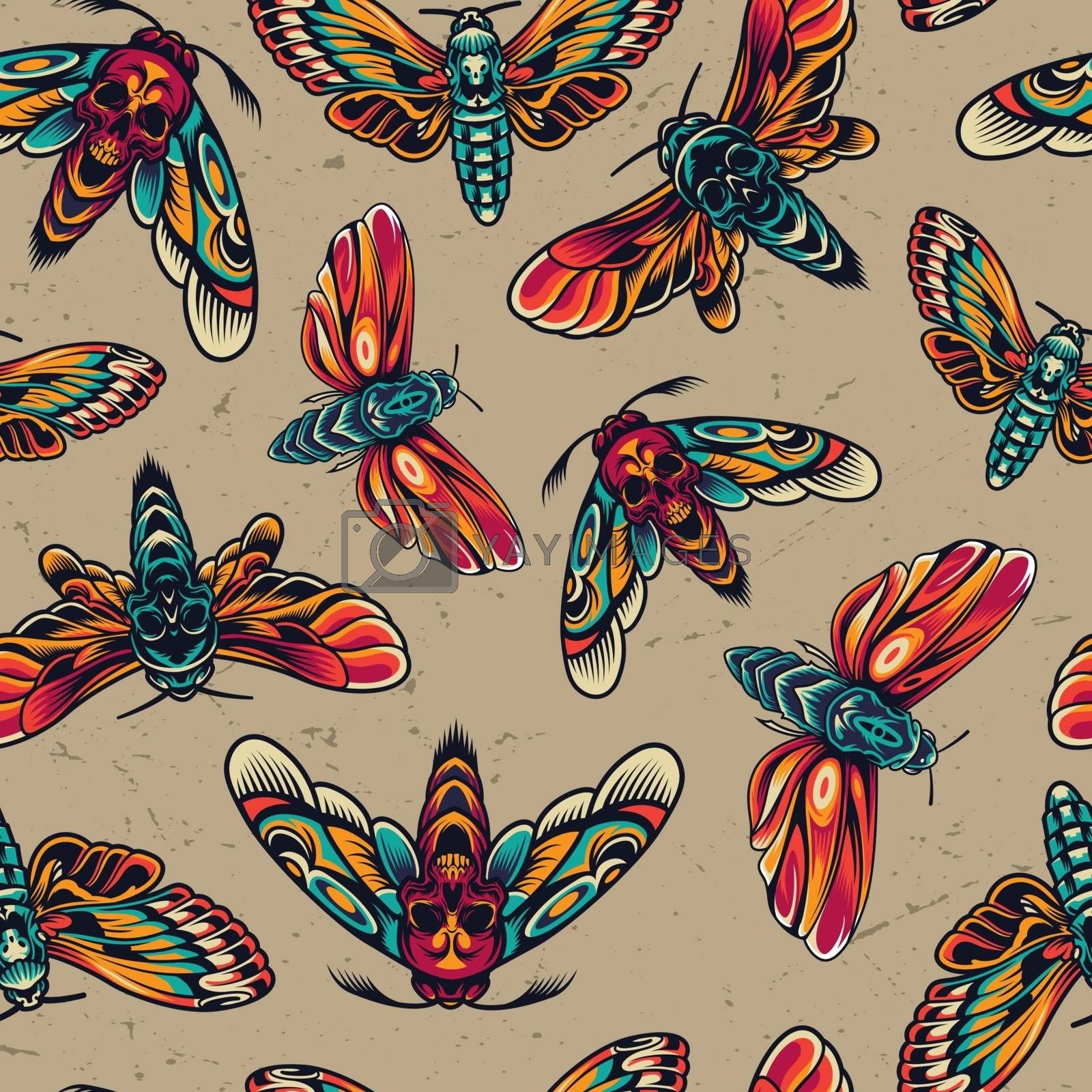 Tattoos colorful seamless pattern with spooky dead head butterflies and moths in vintage style vector illustration