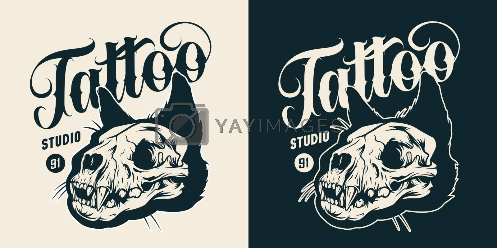 Tattoo studio monochrome vintage badge with cat skull and inscription isolated vector illustration