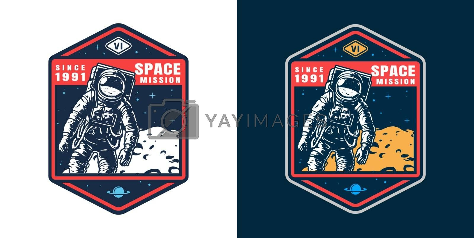 Vintage space colorful badge with astronaut in spacesuit and moon surface isolated vector illustration