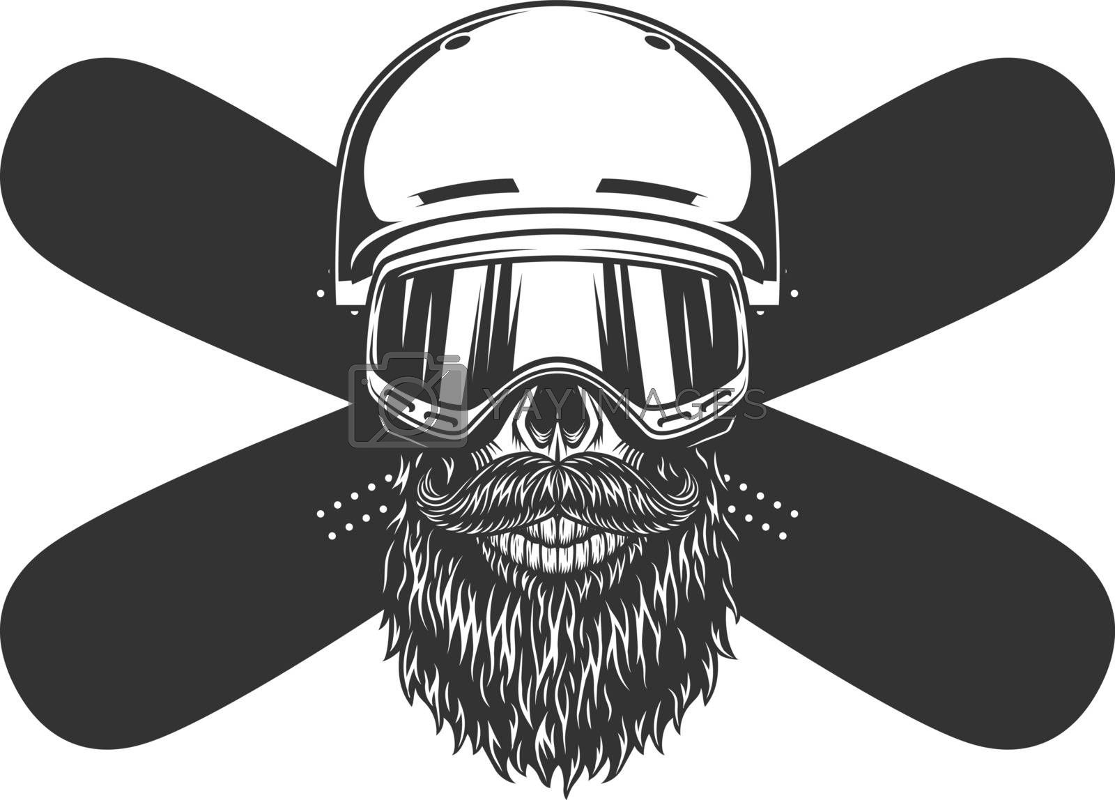 Vintage bearded and mustached snowboarder skull in helmet mask and crossed snowboards isolated vector illustration