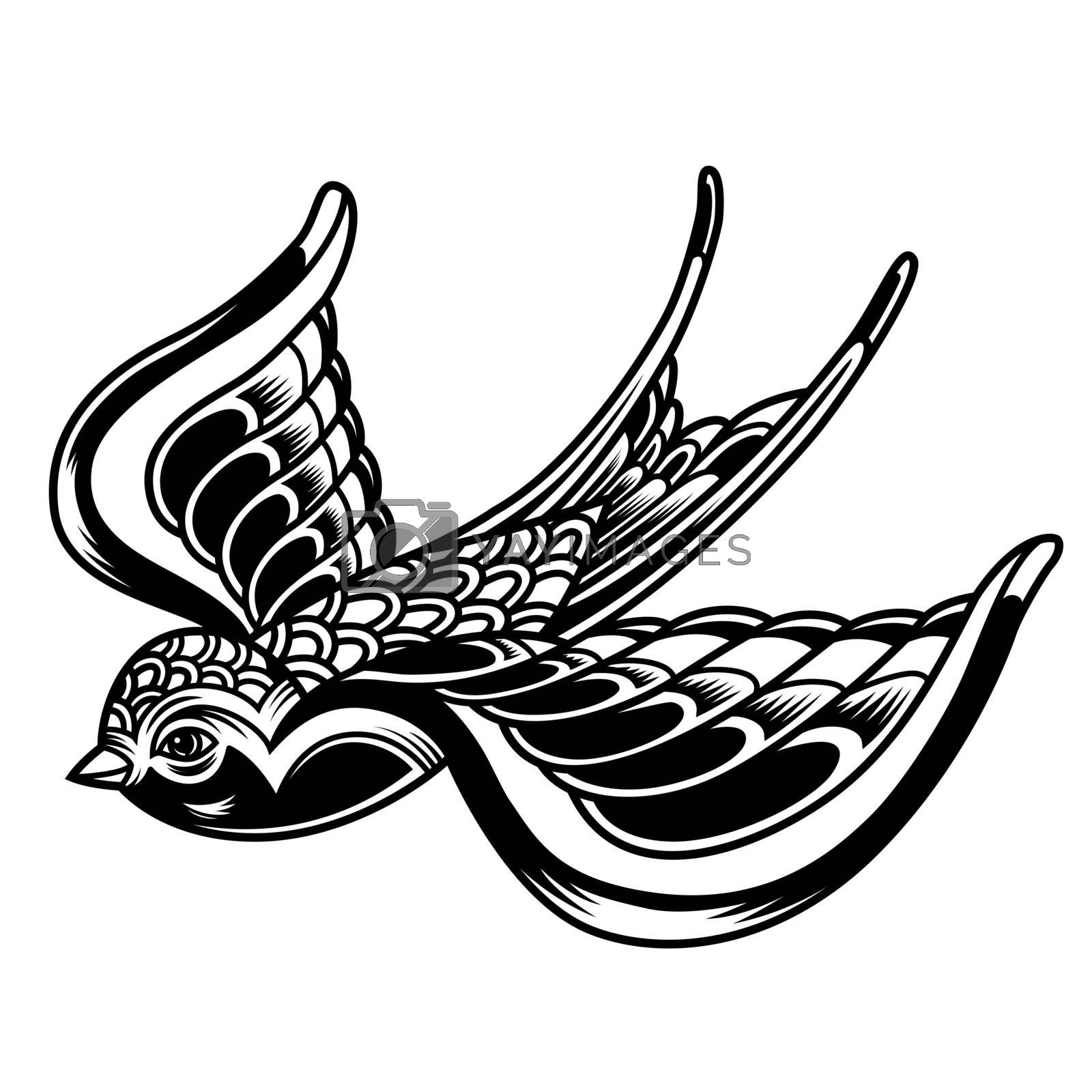 Vintage beautiful flying swallow in monochrome style isolated vector illustration