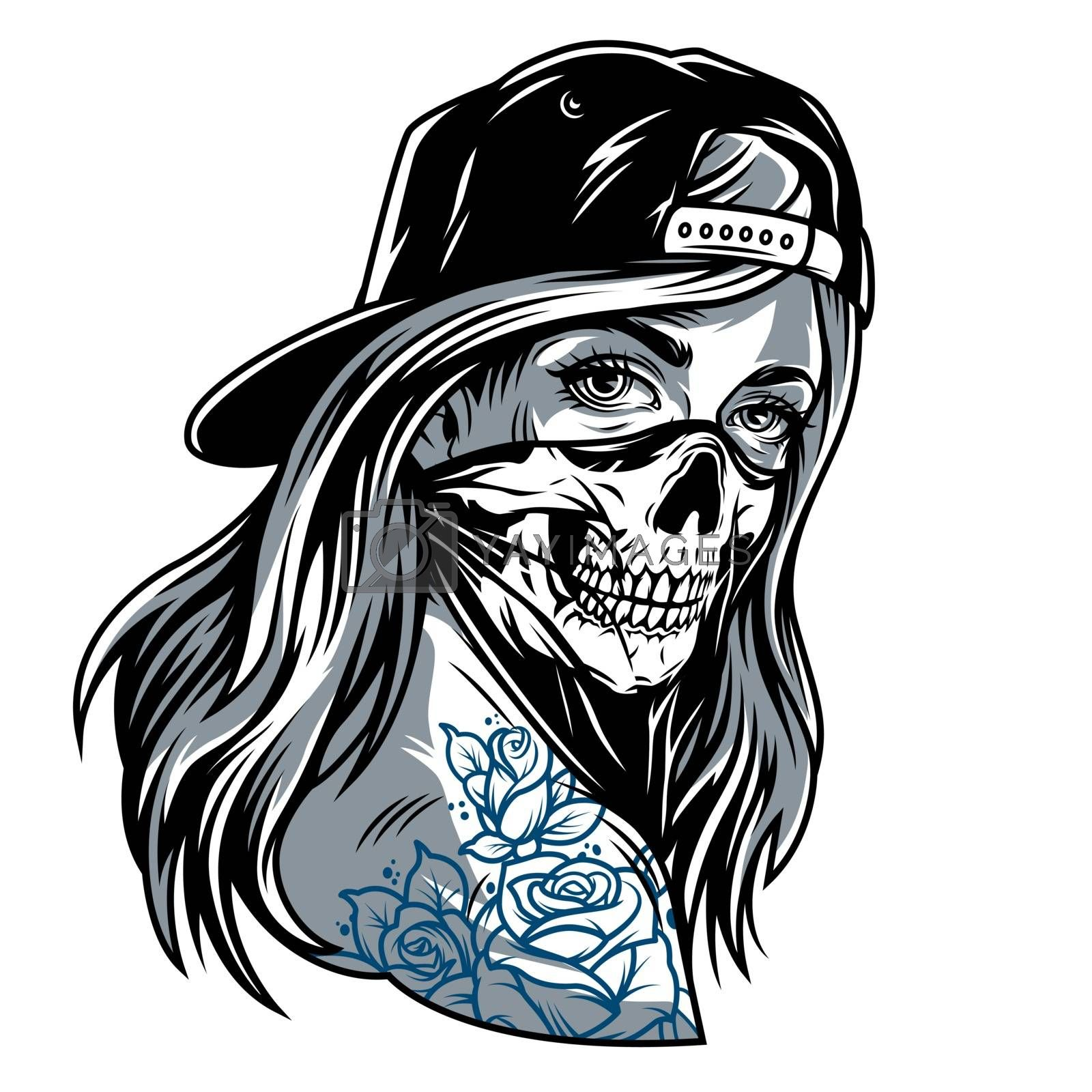 Vintage chicano gangster girl in baseball cap and skull face mask isolated vector illustration