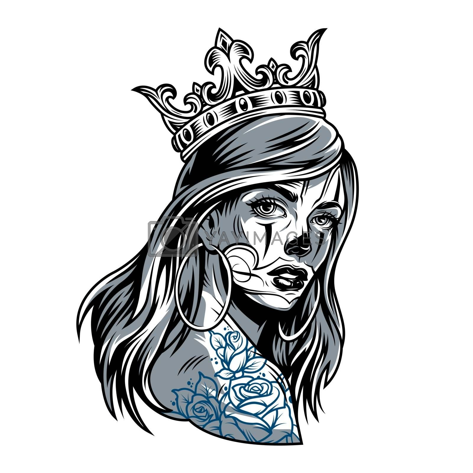 Vintage chicano girl wearing crown with round earrings and flowers tattoo on shoulder isolated vector illustration