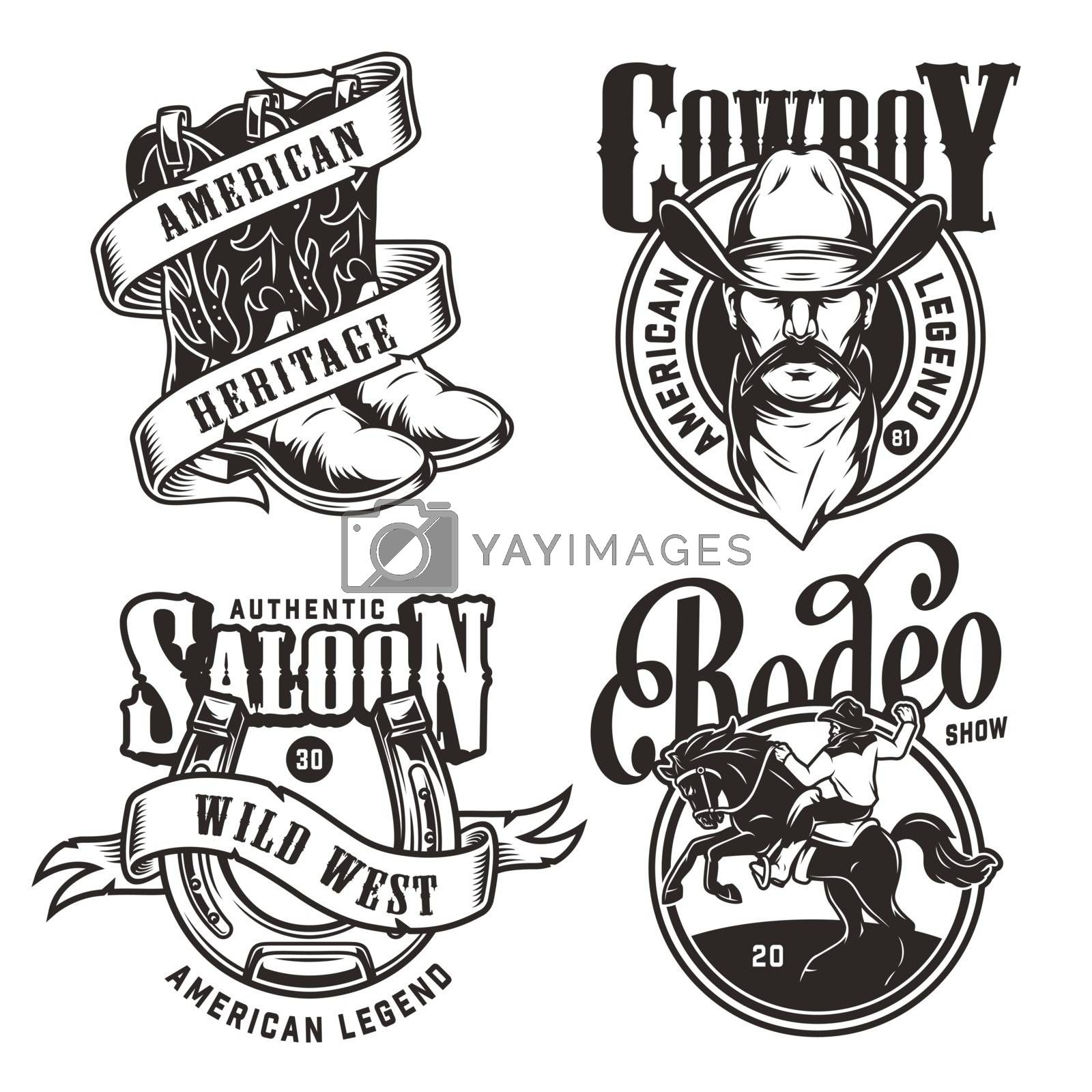 Vintage wild west emblems with cowboy head in hat and scarf horseshoe ribbon around cowboy boots rider and horse in monochrome style isolated vector illustration