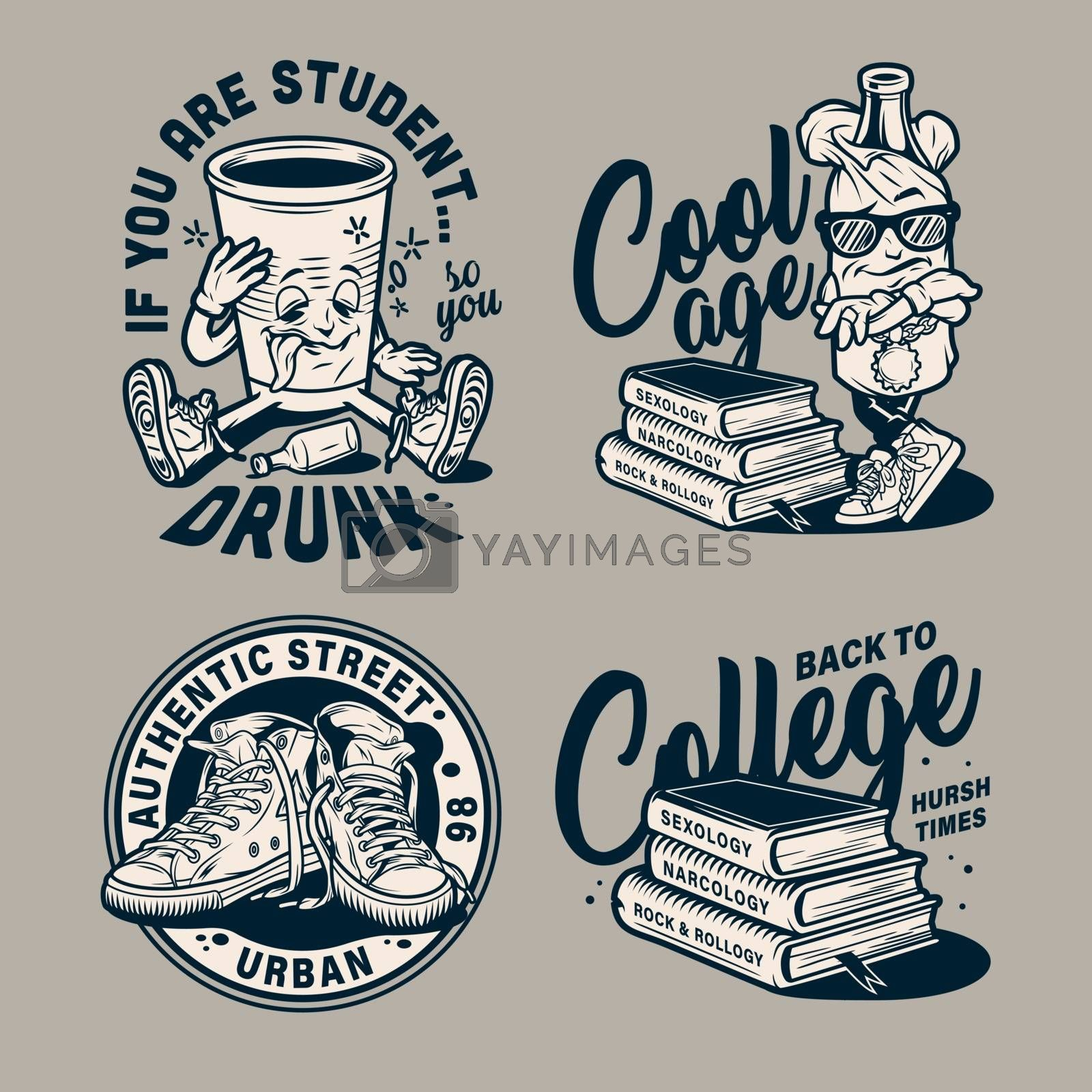Vintage education monochrome prints with funny college characters sneakers and stack of books isolated vector illustration